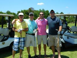 Beekman (left) doesn't get to play golf often, but when he does, he enjoys playing with his...