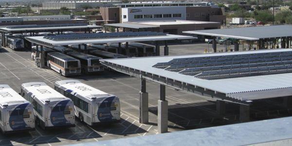 Sun Tran's Northwest Facility bus storage yard features solar panels.