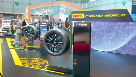 The Pirelli booth featured new tires in the company's P Zero World retail format.