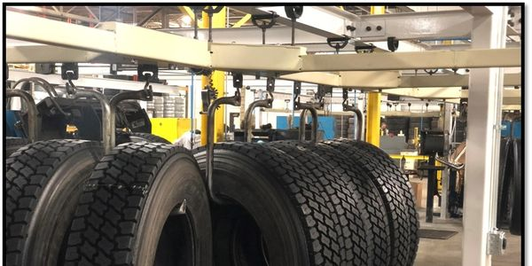 The first tires built at the retread plant in Tredroc Tire Services' new super center in Allen...