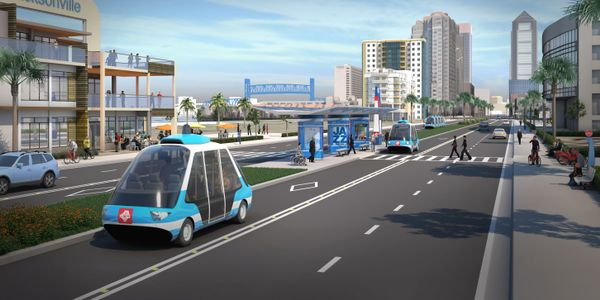 A 2017 rendering of Jacksonville Transportation Authority's Ultimate Urban Circulator Program...