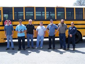School bus technicians from seven districts participated in the first annual competition. First place winner Richard White (second from left) will represent Virginia at NAPT's America's Best competition this fall.
