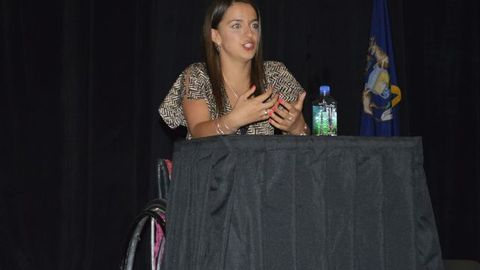 Victoria Arlen, a gold medal-winning para-athlete swimmer, explained how she has overcome her...