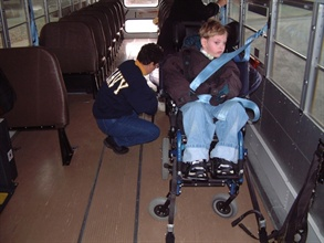 Drivers and attendants who transport wheelchair-seated students are asked to share their experiences in a survey being conducted by university researchers. Photo courtesy Larry Schneider