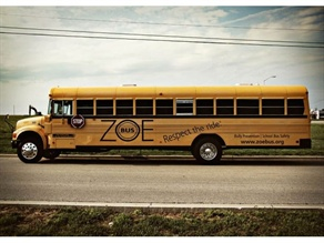 ZoeBus, founded by Gina Crump, offers interactive training, workshops and assemblies on bus safety and bullying prevention. Crump travels to schools in Missouri in this bus.