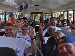 Supporters of the campaign joined Neil Abercrombie on his school bus listening tour of the Big Island of Hawaii.