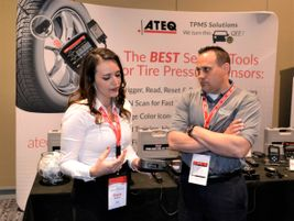 U.S. Marketing Coordinator Sheila Stevens educates Matt Bohnert about Ateq TPMS tools.