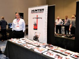 The Hunter Engineering Co. booth needed a long table for its many new products.