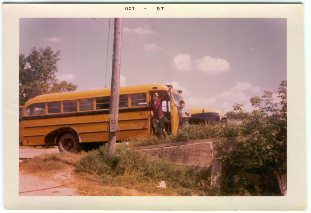 """Dan Kobussen's dad, Jim, is on the left, and his uncle Jack is on the right. """"The bus is parked..."""