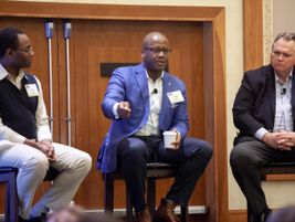 CATS CEO John Lewis (center) was joined by The COMET's CEO John Andoh (left) and Valley Metro...