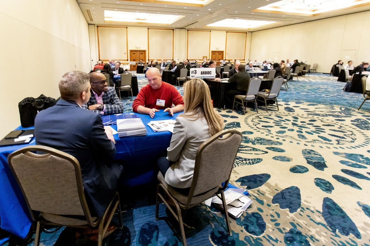In the speed dating portion, buyers and sellers get a chance to meet one-on-one.