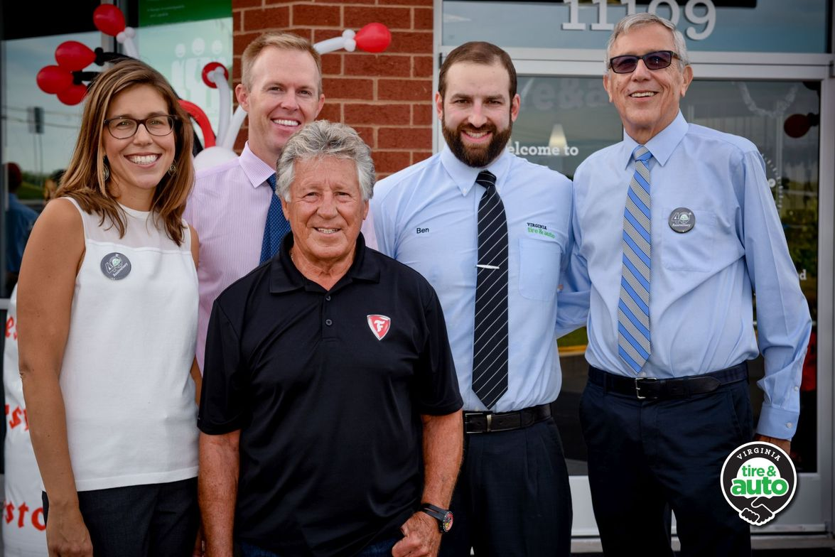 (from left): Julie Holmes, president, Virginia Tire & Auto; Mike Holmes, CEO, Virginia Tire &...