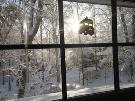 A school bus suncatcher is silhouetted by a brilliant winter scene in Cary, North Carolina, on...