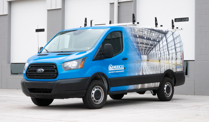 Brand Graphic Solutions, a full-service print solutions company, helped their client, Mericle Commercial Real Estate Services, brand their fleet of company vans using digital wrapping film. Here, they use Avery DennisonⓇ MPI 1105 EZ RS Supercast Film with DOL 1060 overlaminate for added durability. -