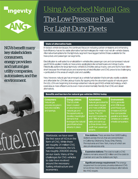 Using Adsorbed Natural Gas: Low-Pressure Fuel for Light-Duty Trucks