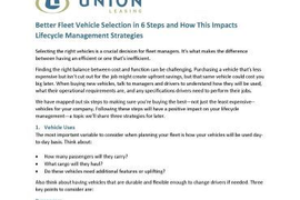 Better Fleet Vehicle Selection in 6 Steps and How This Impacts Lifecycle Management Strategies