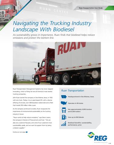 Ruan's Fleet Runs Smoothly on Biodiesel