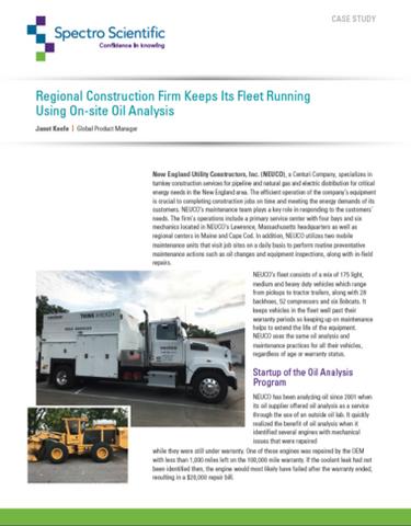 Regional Construction Firm Keeps Its Fleet Running Using On-site Oil Analysis