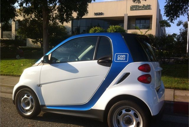 This car2go smart car was often stationed in front of the Torrance, Calif. offices of Auto Rental News. The service was in the South Bay Cities near Los Angeles for less than a year. - Photo by Chris Brown.