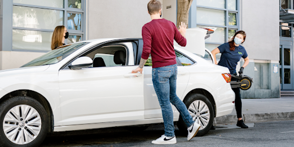 "Kyte delivery drivers (aka ""surfers"") employ a contact-free rental process and often use..."