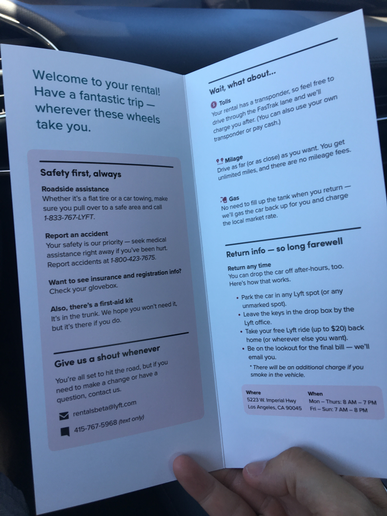 A card left in each Lyft rental explains the details of the service.  -