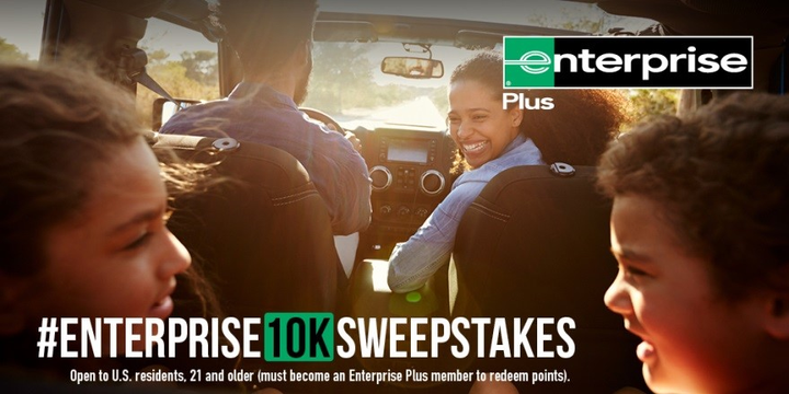 Now through July 18, U.S. residents 21 years of age and older can follow Enterprise on Twitter and share how they would use 10,000 Enterprise Pluspoints with the hashtag #Enterprise10KSweepstakes for the chance to win one of the 10,000 bonus-point prizes. - Photo courtesy of Enterprise.