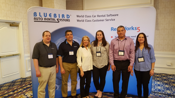 The Bluebird Auto Rental Systems team at the 2018 International Car Rental Show. Photo courtesy of Bluebird.  -