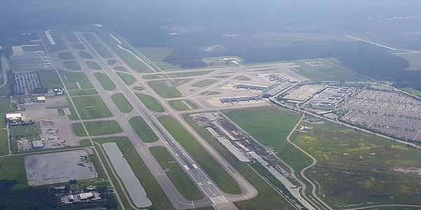 An arial view of Fort Myers Southwest Florida International Airport.