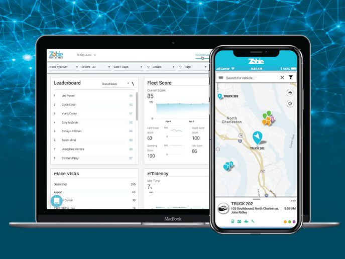 "Key site updates include a ""Vehicle Overview"" page that summarizes critical information in a single, customizable dashboard, an improved map experience, and a view of vehicle trips that's easier to navigate. - Image courtesy of Zubie."