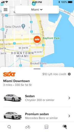 When Lyft customers open the Lyft app, they can choose from a selection of Sixt cars from the Rentals tab, from which renters can select vehicle class, reservation dates, location, and ancillary services. - Image courtesy of Sixt and Lyft.