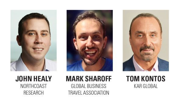 The panelists are Tom Kontos, chief economist for KAR Global, owners of Adesa Auctions; John Healy, managing director and equity research analyst for Northcoast Research; and Mark Sharoff, senior research analyst at Global Business Travel Association (GBTA). -