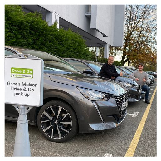 Green Motion CEO Richard Lowden and CTO Chay Lowden were in attendance as Green Motion's Drive & Go contactless car rental system was installed in a brand new fleet of Peugeot 208s at Green Motion's London Heathrow location. - Photo courtesy of Green Motion.