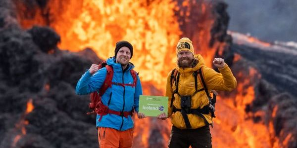 The Green Motion Iceland team celebrates reopening at the most recent volcanic eruption at...