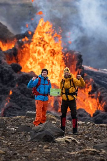 The Green Motion Iceland team celebrates reopening at the most recent volcanic eruption at Fagradalsfjall. - Photo courtesy of Green Motion.