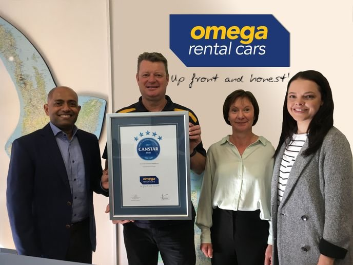 Omega was awarded the Canstar Blue Customer Satisfaction Award — Hire Cars 2021, based on feedback from a sample of 792 New Zealanders who had rented a car in the past twelve months. - Photo courtesy of Omega.