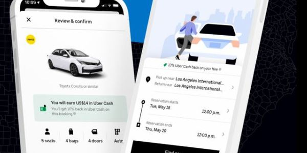 Uber users browse and select rentals using the Uber app and pay for the rental through their...