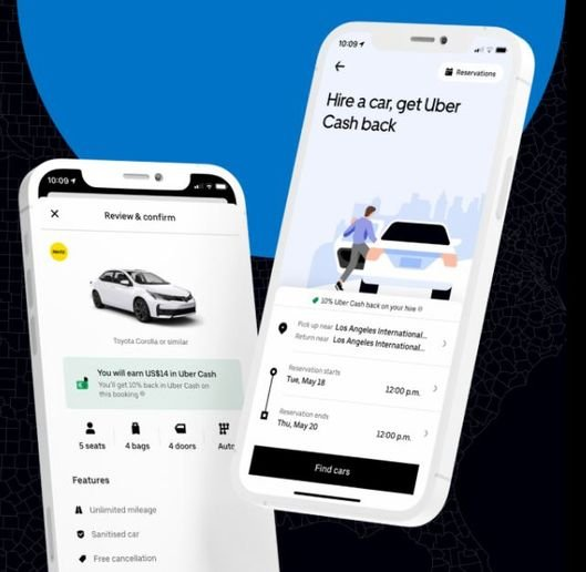 Uber users browse and select rentals using the Uber app and pay for the rental through their account. CarTrawler handles the car rental pricing and revenue management to display on the app. - Image courtesy of CarTrawler.