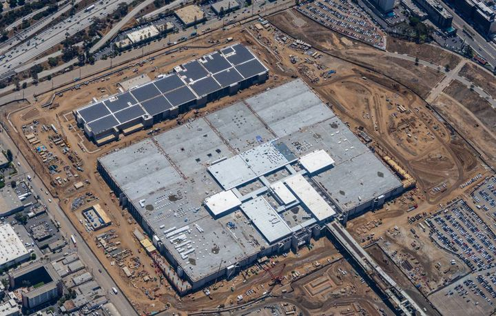 Pictured here is an aerial view of the Consolidated Rent-a-Car facility, which upon completion will bring all of LAX's rental car companies in one location. - Photo: LAX/Los Angeles World Airports