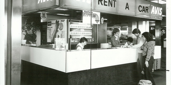 The Avis rental booth at New Zealand's Christchurch Airport circa 1981. Photo via Archives New...
