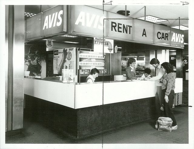 The Avis rental booth at New Zealand's Christchurch Airport circa 1981. Photo via Archives New Zealand/Flickr.