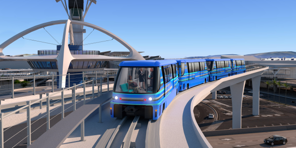 The automated people mover will run on a 2.25-mile elevated dual-lane guideway with six stations...