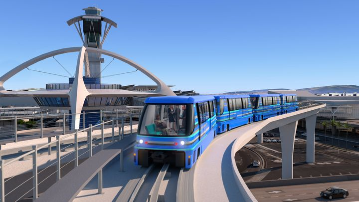 The automated people moverwill run on a 2.25-mile elevated dual-lane guideway with six stations and create new connections between the airport, public and private transportation, and a new consolidated rental car facility. - Photo courtesy of Bombardier.