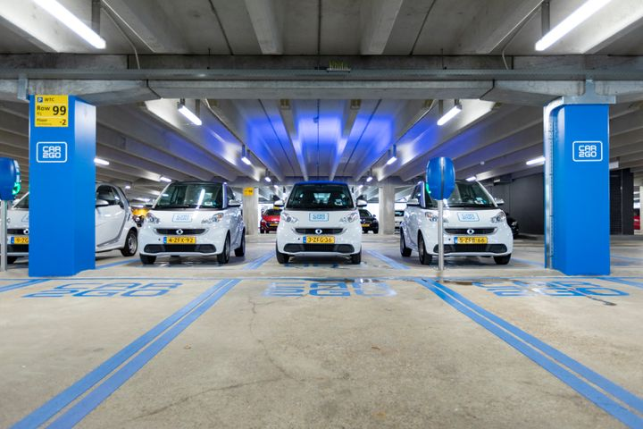 Customers can either pick up or park car2go's electric fortwo cars at the parking hub, walking distance from the terminal. - Photo courtesy of Airport Schiphol.