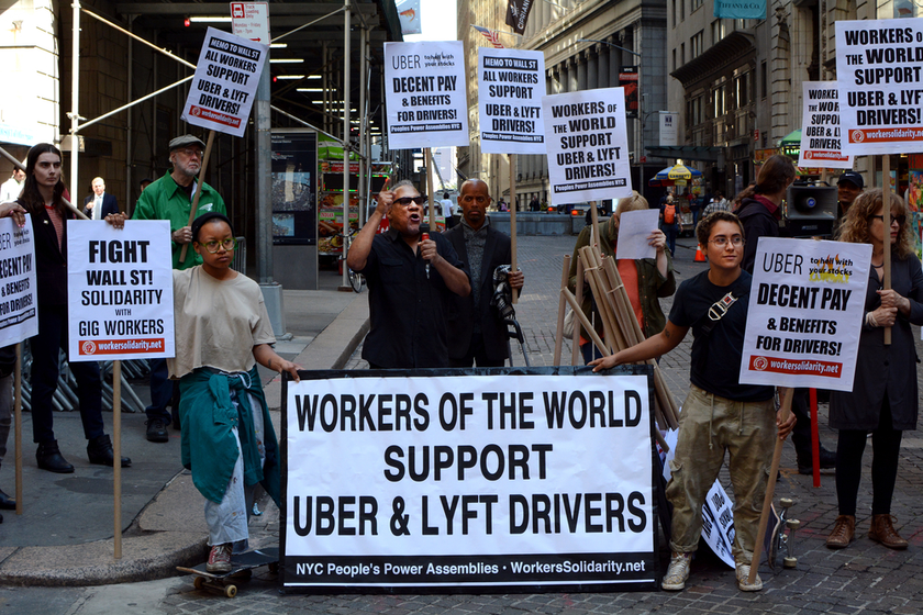 People protesting against Uber in New York City.