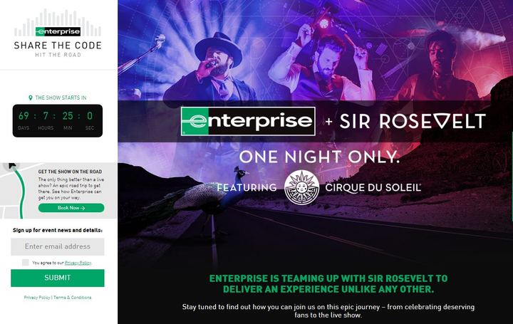 The campaign will culminate with a unique fan-ticketed concert featuring Sir Rosevelt and special guests Cirque du Soleil on August 7, in Denver. - Screenshot via Sharethecode.us