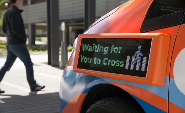 Drive.ai's vehicles will be painted a highly-visible orange, and they will feature four external screens that communicate the vehicles' intended actions to pedestrians and other drivers on the roads. Photo: Drive.ai