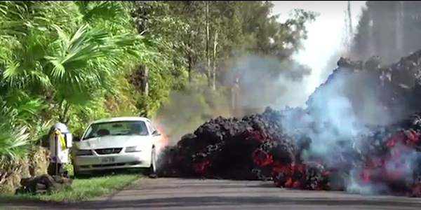 [Video]: Hawaii Rental Operator Loses Car as Kilauea Volcano Spews Lava, Flames