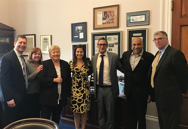 Members of the ACRA delegation (l-r Eric Rothman, Fast Track Leasing; Kathy Egan, Lancer Insurance; Sharon Faulkner, ACRA; Rudy Callegari and William Harris, Edge Auto Rental; Robert Muhs, Avis Budget Group) meet with Congresswoman Elise Stefanik (R-NY) of the 21st District during last year's annual legislative conference.  - Photo courtesy of William Harris.