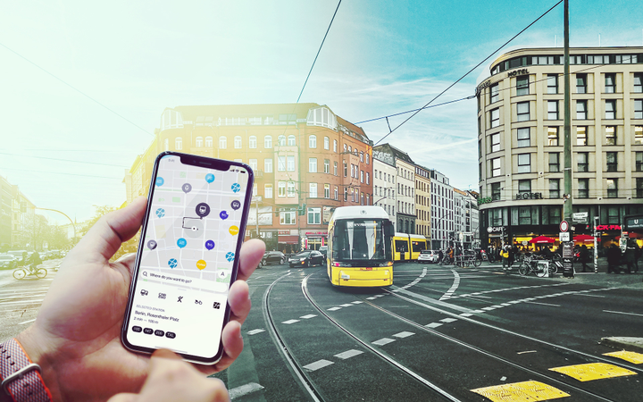 The Reach Now apps will offer a range of options for getting from A to B, allowing users to book and pay directly for public transport and various other mobility options, such as carsharing, ride-hailing, and bike rentals. - Photo courtesy of Daimler.