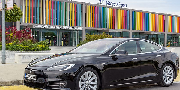 Customers can easily take a Tesla Model S when they arrive at Sofia Airport or to make a...